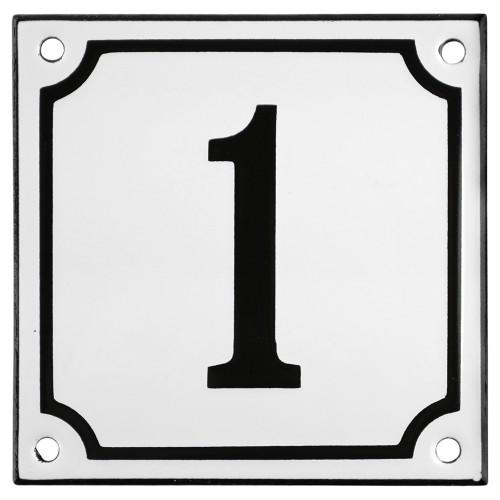 Emaljskylt 1 vit - svart 10 x 10 cm modell 10