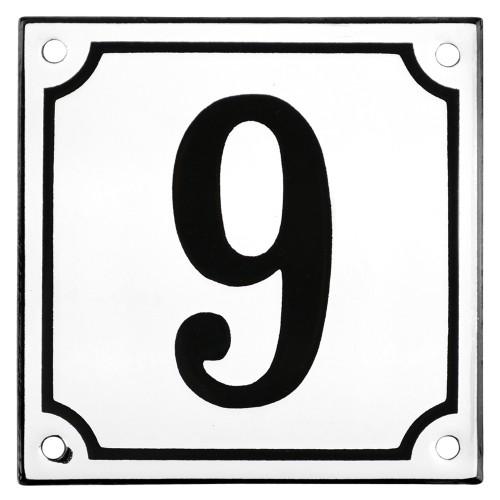 Emaljskylt 9 vit - svart 10 x 10 cm modell 10