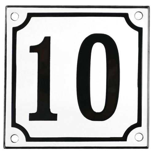 Emaljskylt 10 vit - svart 10 x 10 cm modell 10