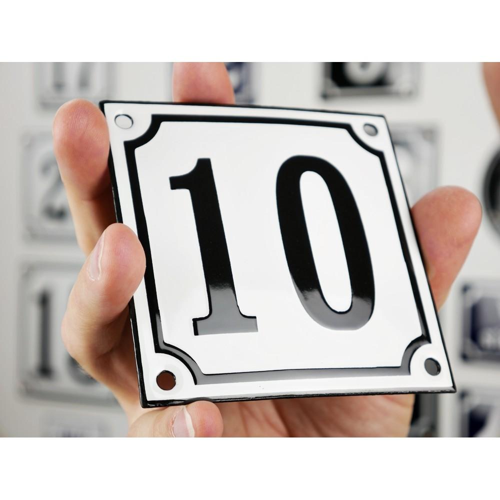 Emaljskylt 10 vit svart kupad och handtillverkad 10 x - Piastrelle 10 x 10 ...