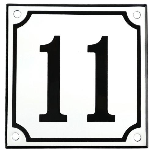 Emaljskylt 11 vit - svart 10 x 10 cm modell 10
