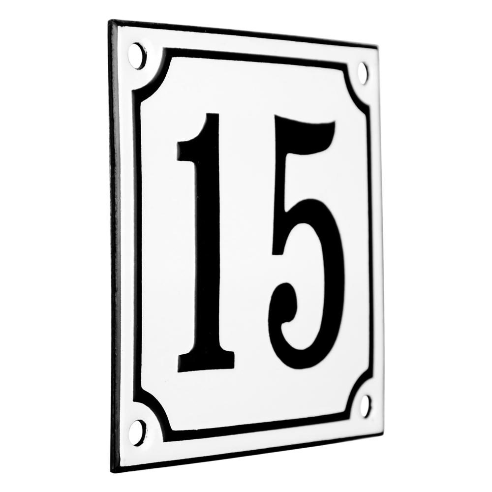 Emaljskylt 15 vit svart kupad och handtillverkad 10 x for 10 x 10 x 10