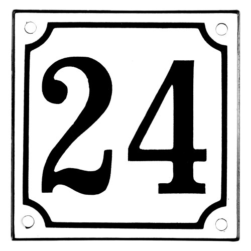 Emaljskylt 24 vit - svart 10 x 10 cm modell 10