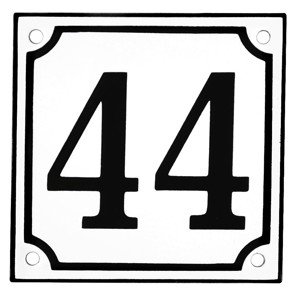 Emaljskylt 44 vit svart kupad och handtillverkad 10 x for 10 x 10 x 10