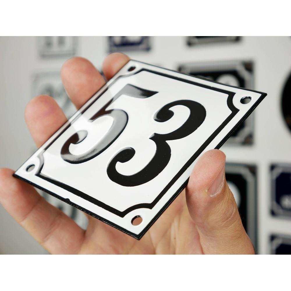 Emaljskylt 53 vit svart kupad och handtillverkad 10 x for 10 x 10 x 10