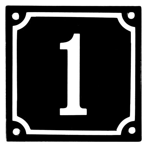 Emaljskylt 1 svart - vit 10 x 10 cm modell 12
