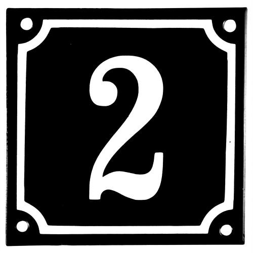 Emaljskylt 2 svart - vit 10 x 10 cm modell 12