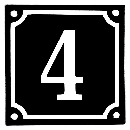 Emaljskylt 4 svart - vit 10 x 10 cm modell 12