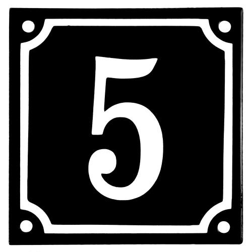 Emaljskylt 5 svart - vit 10 x 10 cm modell 12