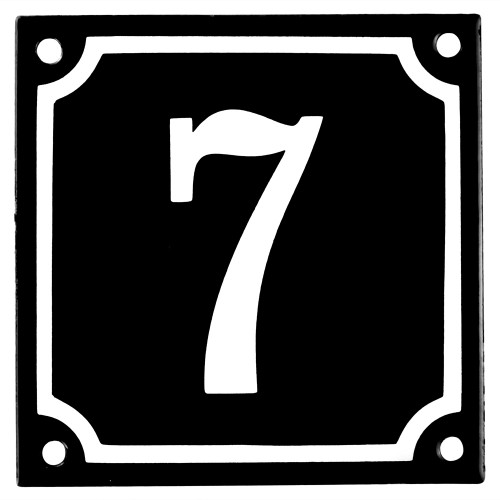Emaljskylt 7 svart - vit 10 x 10 cm modell 12