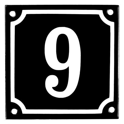 Emaljskylt 9 svart - vit 10 x 10 cm modell 12