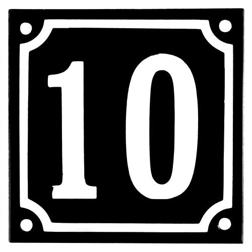 Emaljskylt 10 svart - vit 10 x 10 cm modell 12