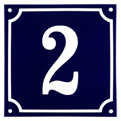 Emaljskylt 2 blå - vit 15 x 15 cm modell 11