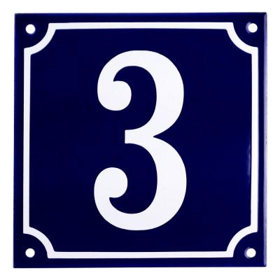 Emaljskylt 3 blå - vit 15 x 15 cm modell 11