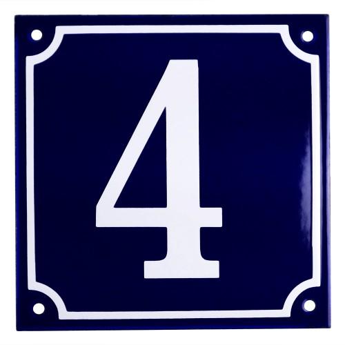 Emaljskylt 4 blå - vit 15 x 15 cm modell 11
