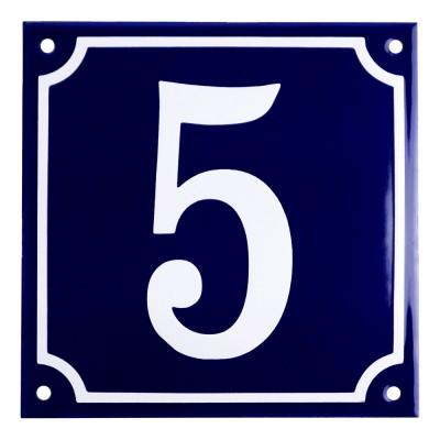 Emaljskylt 5 blå - vit 15 x 15 cm modell 11