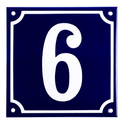 Emaljskylt 6 blå - vit 15 x 15 cm modell 11