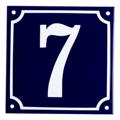 Emaljskylt 7 blå - vit 15 x 15 cm modell 11