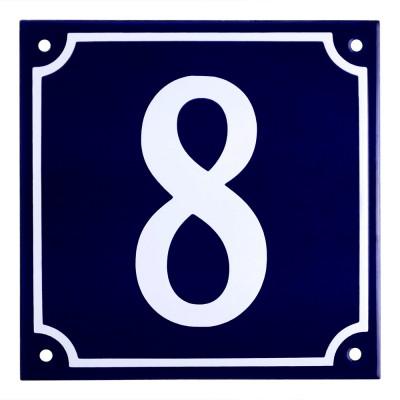 Emaljskylt 8 blå - vit 15 x 15 cm modell 11