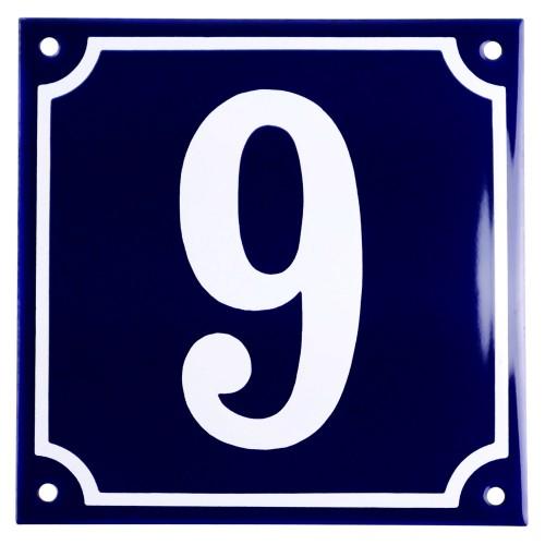 Emaljskylt 9 blå - vit 15 x 15 cm modell 11