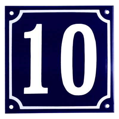 Emaljskylt 10 blå - vit 15 x 15 cm modell 11