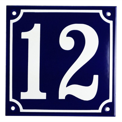 Emaljskylt 12 blå - vit 15 x 15 cm modell 11