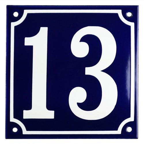 Emaljskylt 13 blå - vit 15 x 15 cm modell 11