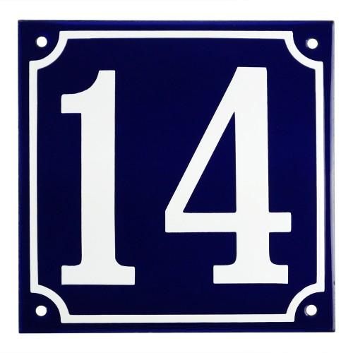 Emaljskylt 14 blå - vit 15 x 15 cm modell 11