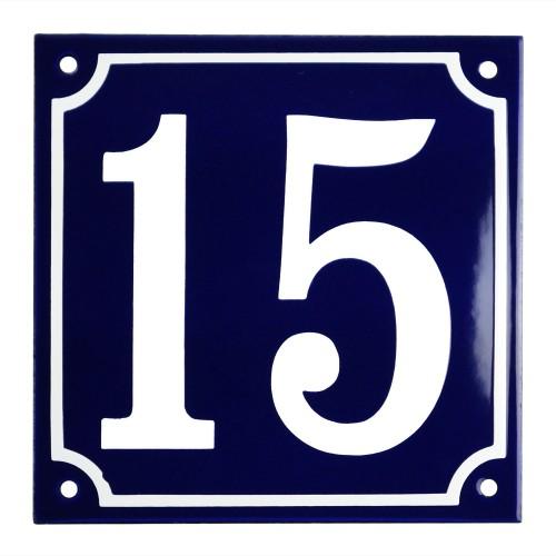 Emaljskylt 15 blå - vit 15 x 15 cm modell 11