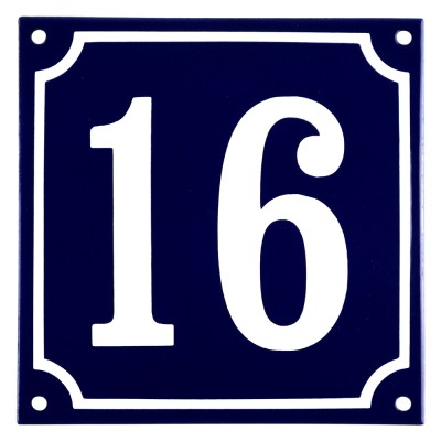 Emaljskylt 16 blå - vit 15 x 15 cm modell 11
