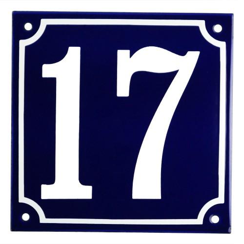 Emaljskylt 17 blå - vit 15 x 15 cm modell 11