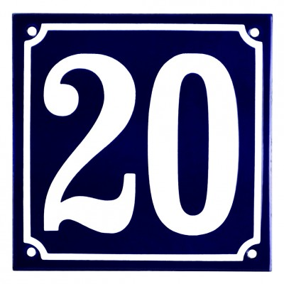 Emaljskylt 20 blå - vit 15 x 15 cm modell 11