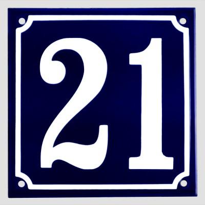 Emaljskylt 21 blå - vit 15 x 15 cm modell 11