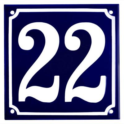 Emaljskylt 22 blå - vit 15 x 15 cm modell 11