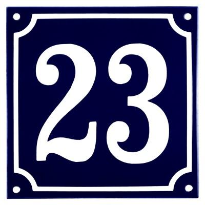 Emaljskylt 23 blå - vit 15 x 15 cm modell 11
