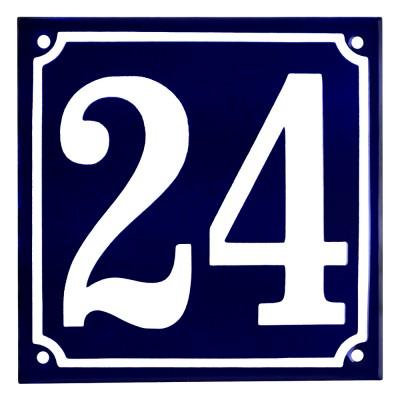 Emaljskylt 24 blå - vit 15 x 15 cm modell 11