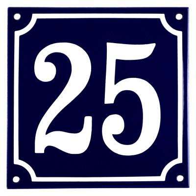 Emaljskylt 25 blå - vit 15 x 15 cm modell 11