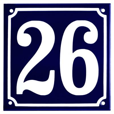 Emaljskylt 26 blå - vit 15 x 15 cm modell 11