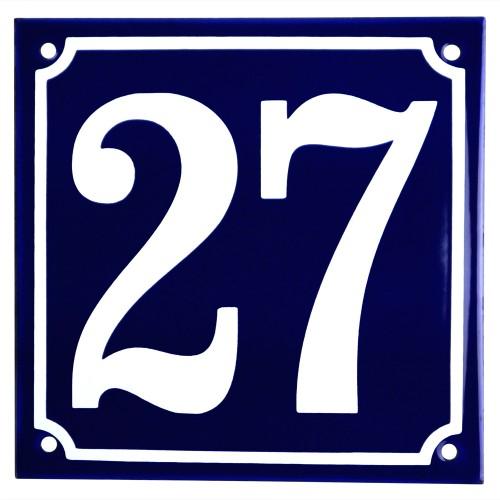 Emaljskylt 27 blå - vit 15 x 15 cm modell 11
