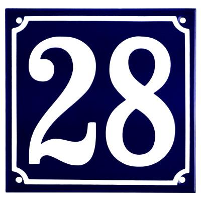 Emaljskylt 28 blå - vit 15 x 15 cm modell 11