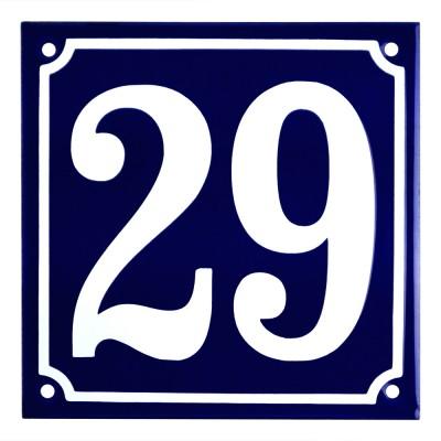 Emaljskylt 29 blå - vit 15 x 15 cm modell 11