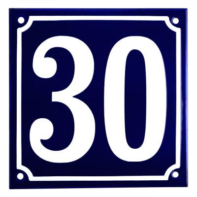 Emaljskylt 30 blå - vit 15 x 15 cm modell 11