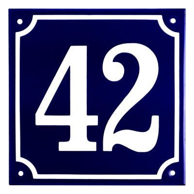 Emaljskylt 42 blå - vit 15 x 15 cm modell 11