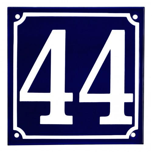Emaljskylt 44 blå - vit 15 x 15 cm modell 11