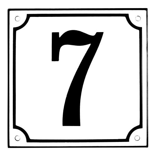 Emaljskylt 7 vit - svart 15 x 15 cm modell 10