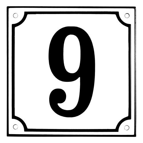 Emaljskylt 9 vit - svart 15 x 15 cm modell 10