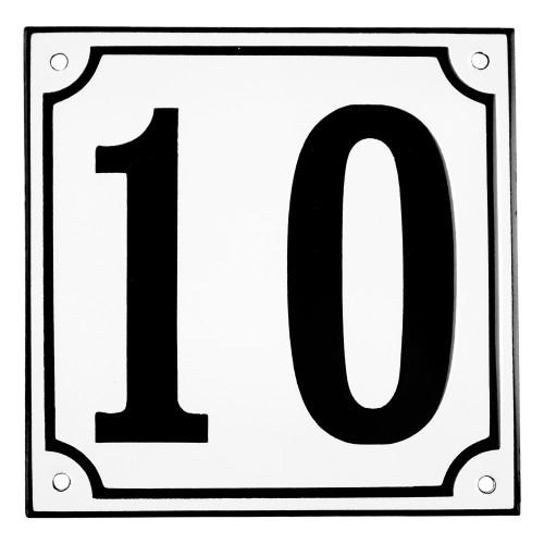 Emaljskylt 10 vit - svart 15 x 15 cm modell 10