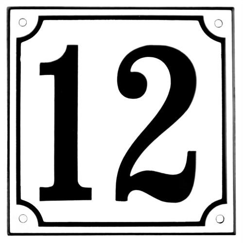 Emaljskylt 12 vit - svart 15 x 15 cm modell 10
