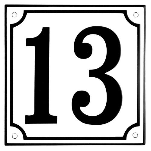 Emaljskylt 13 vit - svart 15 x 15 cm modell 10