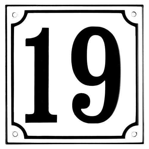 Emaljskylt 19 vit - svart 15 x 15 cm modell 10